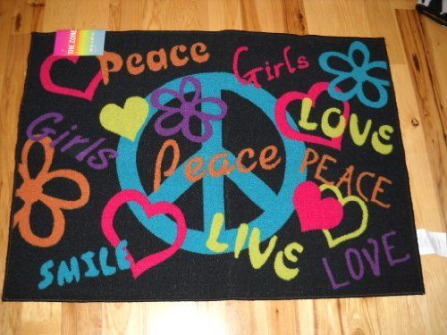 Awesome Girls Bedroom Decor Peace Signs Live Laugh Love Throw Rug Teen Room Hearts  Flowers By The