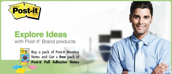 Get a #free pack of Post-it Full Adhesive Notes when you purchase 1 pack of #Post-it Meeting Notes. Offer valid until May 31, 2013.