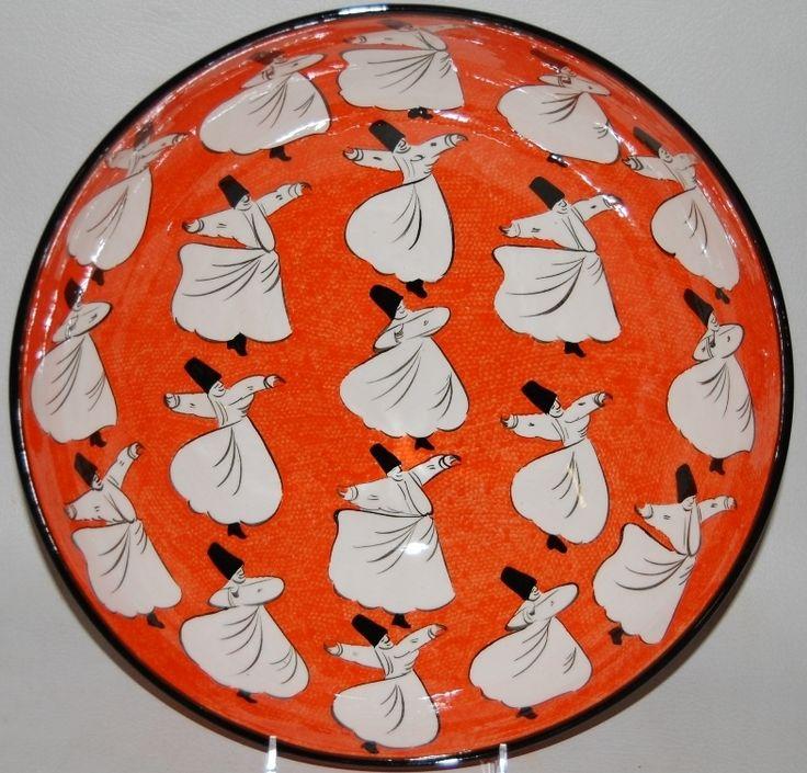 DERVISH CERAMIC PLATE, ORANGE, 20 CM