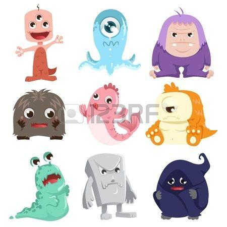 Sevimli canavarlar karakterleri bir koleksiyon bir örnek
