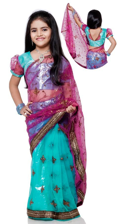 Deep Pink and Turquoise Blue Net Kids Saree