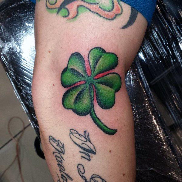 60 Four Leaf Clover Tattoo Designs For Men Good Luck Ink
