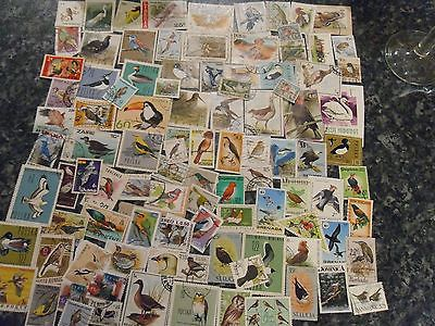 Collection Bird stamps THEMATIC BIRDS 100 different stamps