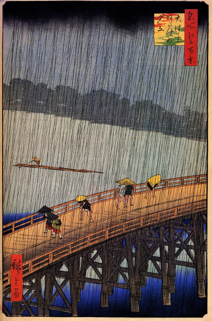 Hiroshige  Great Bridge (Ohashi), Sudden Shower at Atake, from his One Hundred Famous Views of Edo (1856-1858). Hiroshige's work was highly influential among the Impressionists and their successors - Van Gogh painted a version of this work.