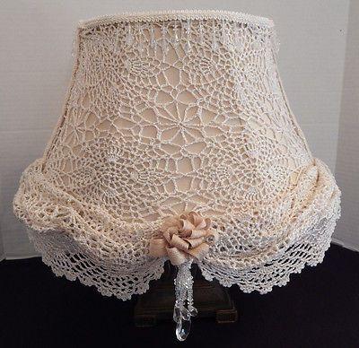 Handmade Handcrafted Shabby Chic Lamp Shade Lace Doiley Burlap Crystals | eBay