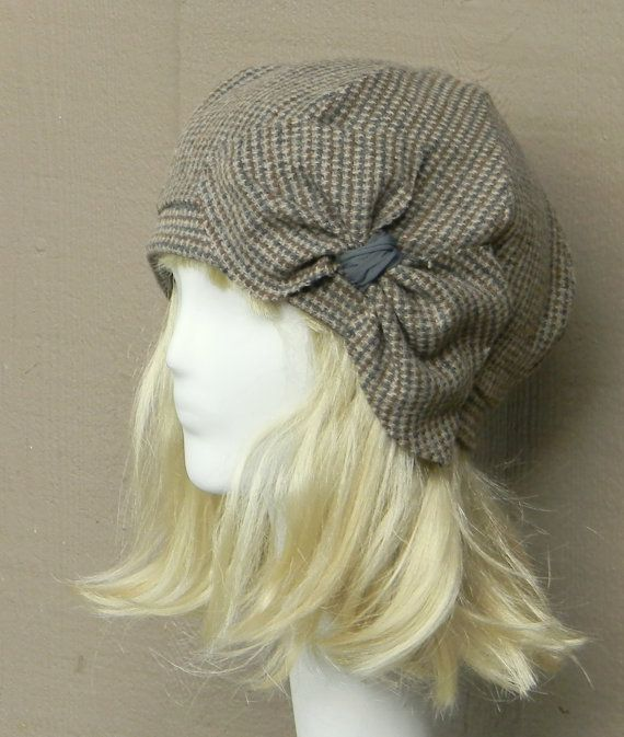 Beret Hat- Vintage Brown Herringbone Wool -with Bow