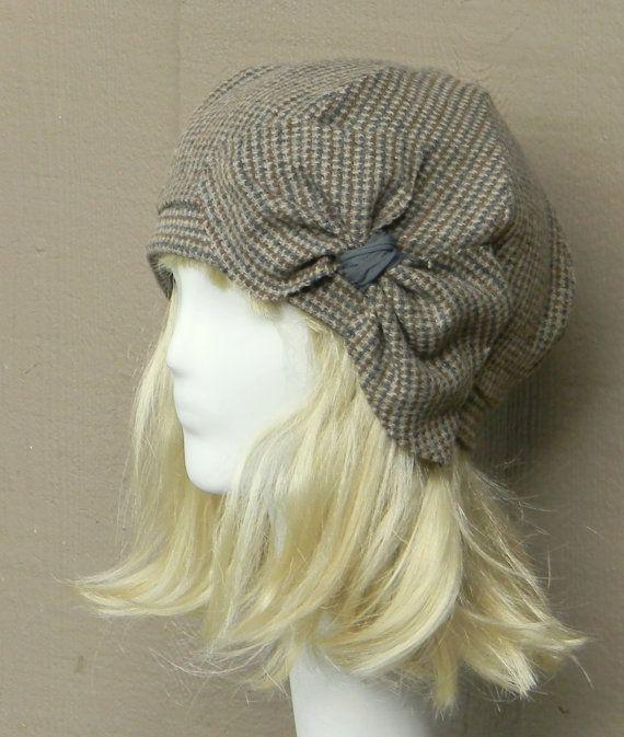Beret Hat- Vintage Brown Herringbone Wool -with Bow