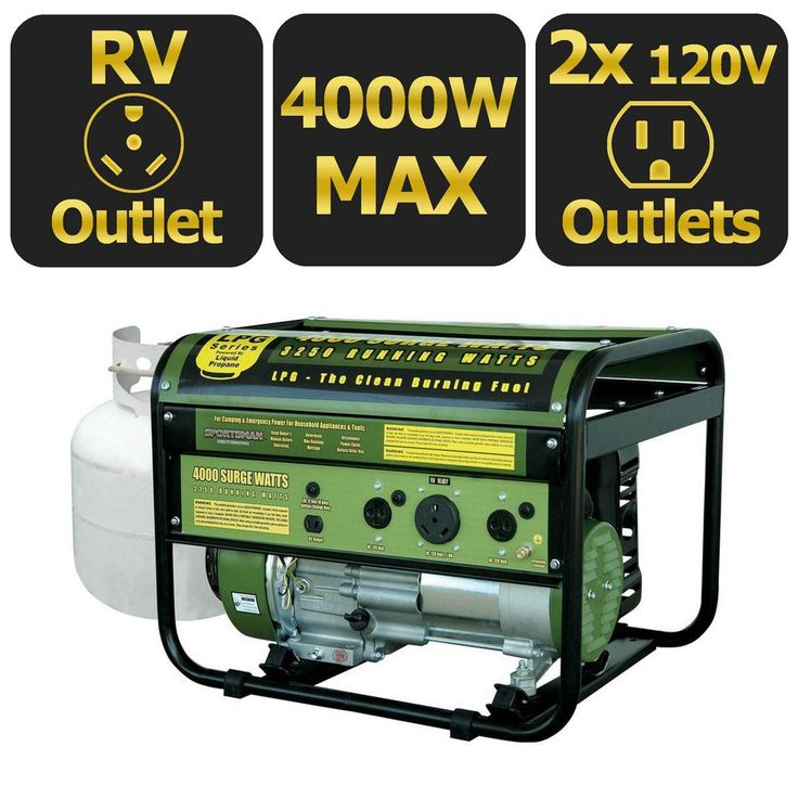 4,000-Watt Clean Burning LPG Propane Gas Powered Portable Generator with RV Outlet
