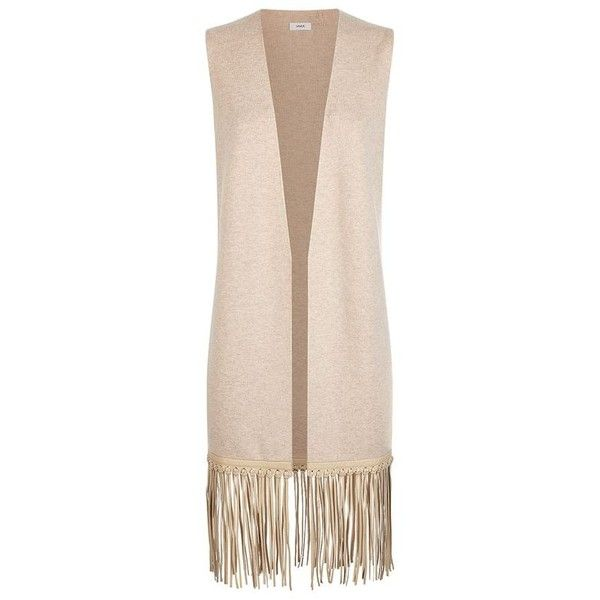 Vince Leather Fringe Sleeveless Cardigan ($845) ❤ liked on Polyvore featuring tops, cardigans, outerwear, long fringe top, pink sleeveless top, long pink cardigan, long tops and leather top