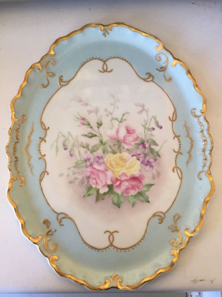 ANTIQUE W G Limoges PORCELAIN PLATE HAND PAINTED GOLD Trim FRANCE