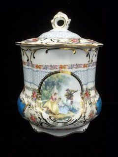 Hand Painted biscuit Barrel 9 Inch