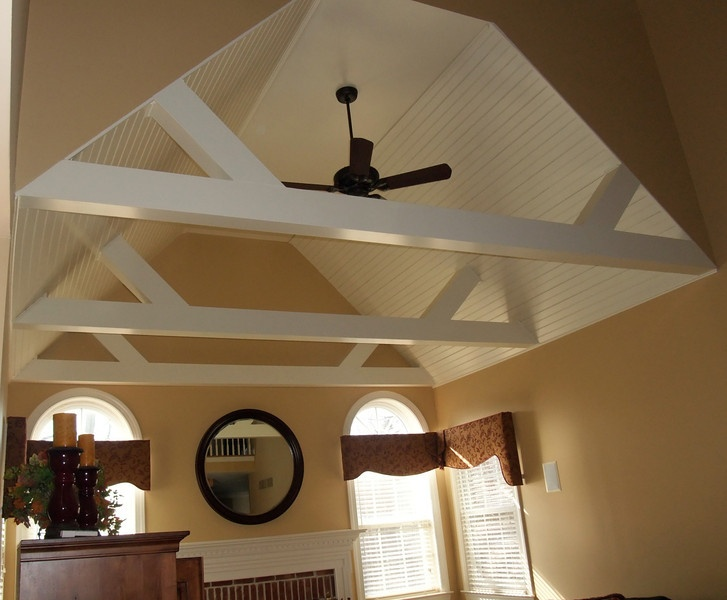 Vaulted ceiling beams great room pinterest beams for How to add beams to a ceiling