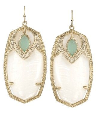 Kendra Scott Darby earrings in mother of pearl.