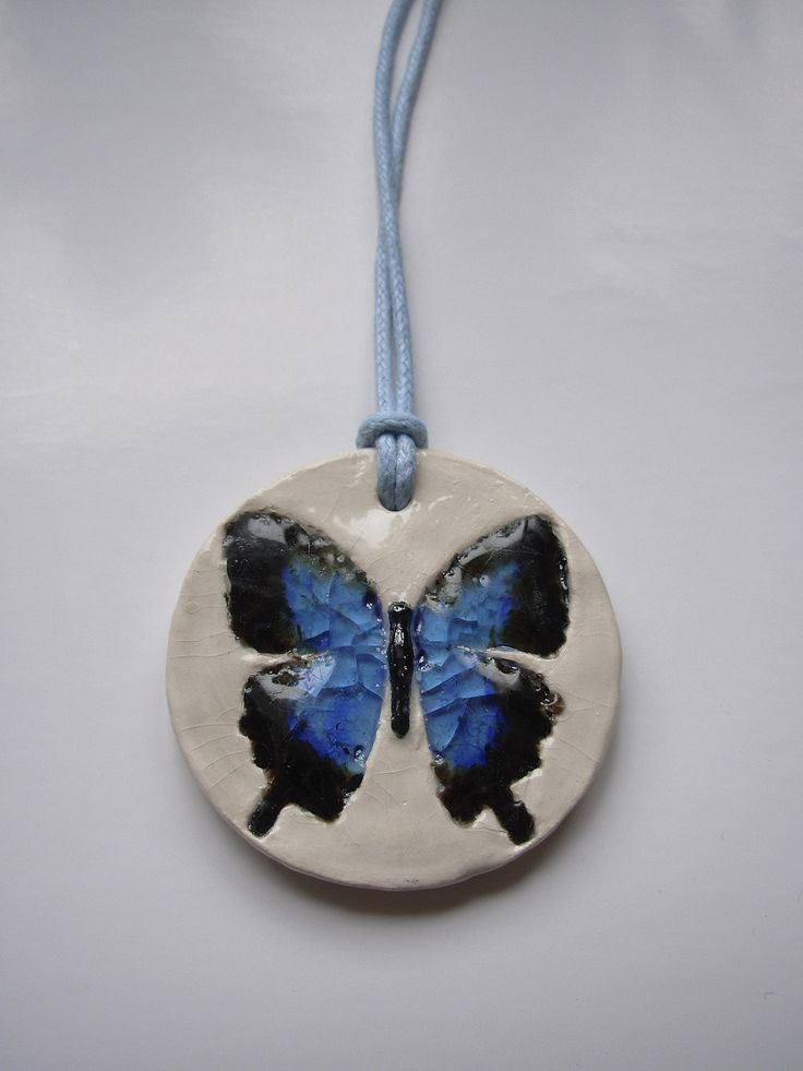 """The ceramic and glass pendant """"Blue butterfly"""""""