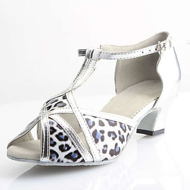 Customized Women's Silver Leather Upper Salsa Latin Dance Shoes - USD $ 39.99