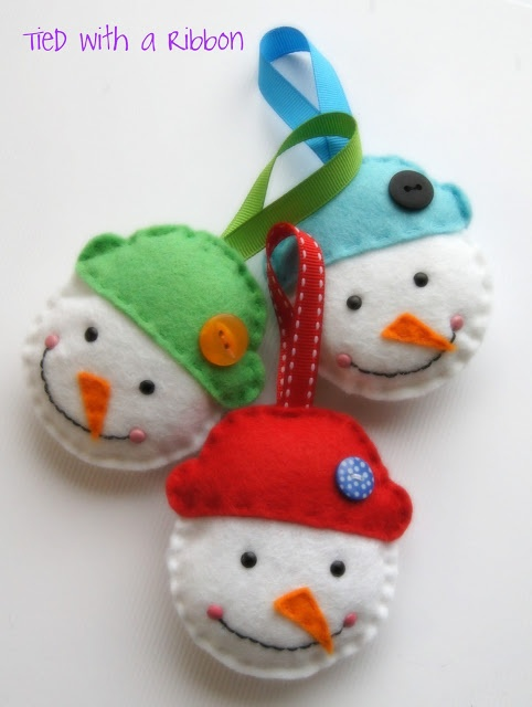 Felt Snowman Ornaments tutorial by Jemima of Tied With A Ribbon