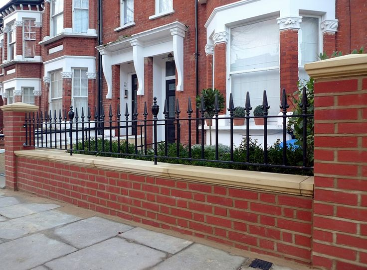 London Red Brick Wall Stone Caps Imperial Rail Victorian