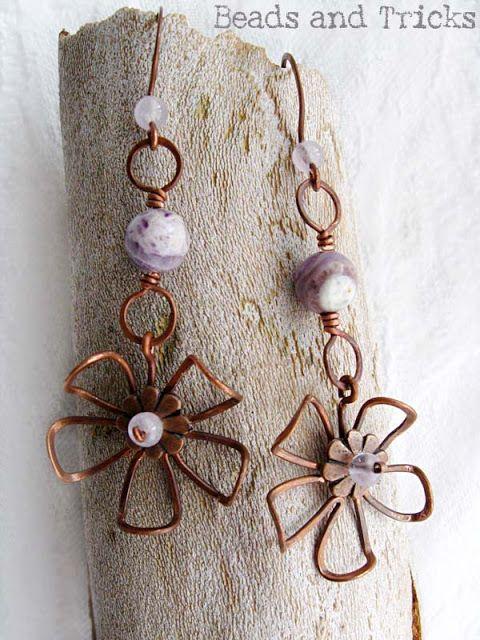 Fiore arruffato: ancora orecchini (viola) | Handmade by Beads and Tricks