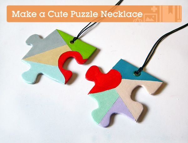 puzzle piece necklace cute green crafting | Craft Trends - Think Crafts by CreateForLess