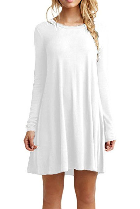 ba4afccafd8c YMING Women s Long Sleeve Round Neck Casual Loose Fit T-Shirt Dress White L