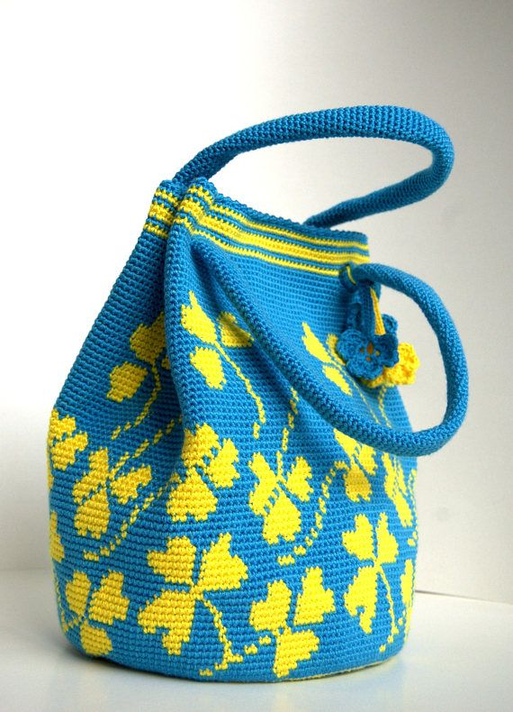 Crochet blue handbag  Crochet shoulderbag with clovers  blue