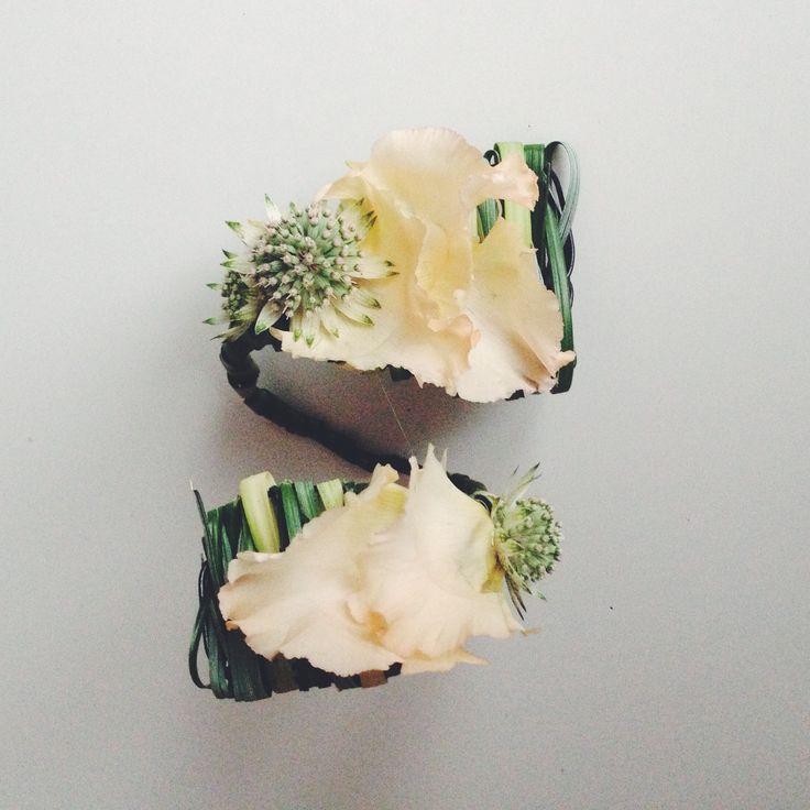 Bridal corsage with astrantia lisianthus petals by NO NO NO