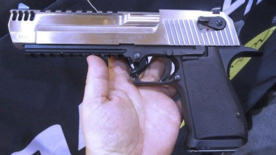 "At the 2015 SHOT show, Magnum Research Inc. (now a division of Kahr Arms) exhibited a new light weight .357 Mag. version of the Desert Eagle pistol with a 5"" barrel and aluminum alloy frame. That pistol was on display at NASGW along with another reduced weight Desert Eagle chambered for the ever popular .50 Action Express cartridge. The new .50 sports a two-tone finish with a stainless steel barrel and slide atop a matte black alloy frame."