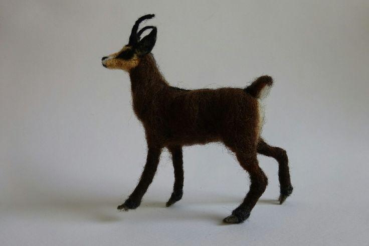 Needle felted gild goat (protected - Pindos-Greece) - by Elina Detsi