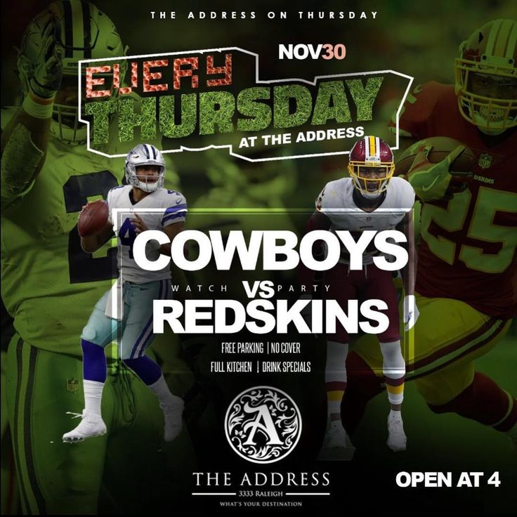 TONIGHT @theaddresshtx Cowboys -VS- Redskins TNF AND THE NFL PRE WEEKEND DESTINATION HAPPY HOUR | SPECIALS FROM 4-8pm  Wonderful Food   Great Vibes#thursday#thursdaynightfootball#happyhour#cocktails#sports#music#food#fun#theaddress#goodvibes#bartender#waitress#cowboys#sports#redskins