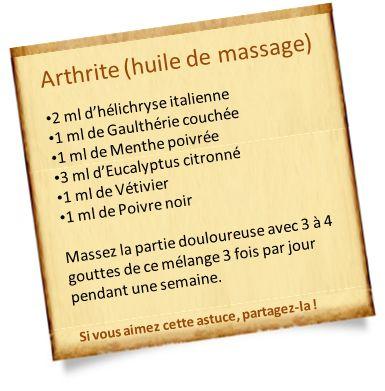 arthrite huile de massage