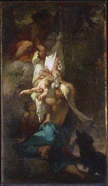 La maltraitance est souvent représenté dans les histoires, ici dans la tragédie grecque, où Œdipe est un enfant maltraité. Il est ici représenté lorsqu'il est découvert après avoir été abandonné accroché à un arbre avec les pieds sciemment meurtrie, d'où son nom qui signifie « pieds enflés ». Jean-Francois Millet 1847