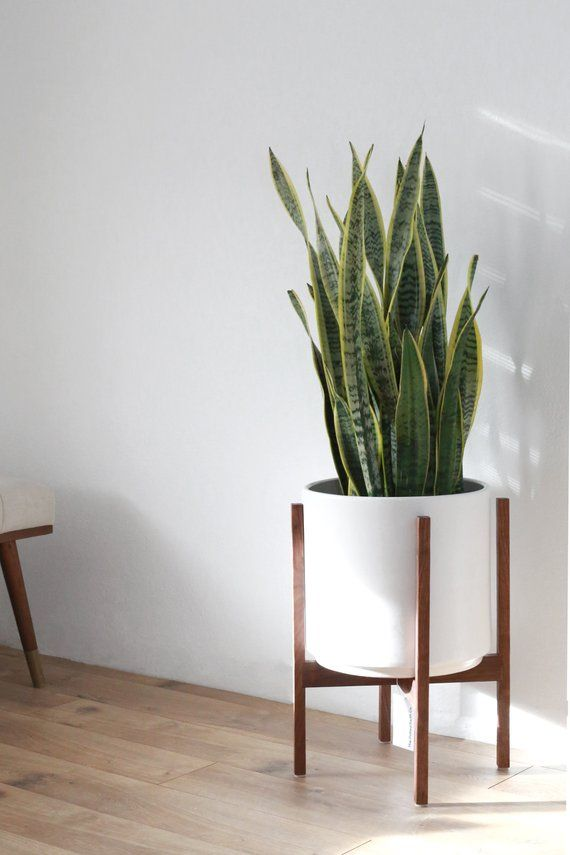 Large Mid Century Modern Planter With Stand 12 Ceramic Etsy Mid Century Modern Planter Modern Planters Wood Plant Stand