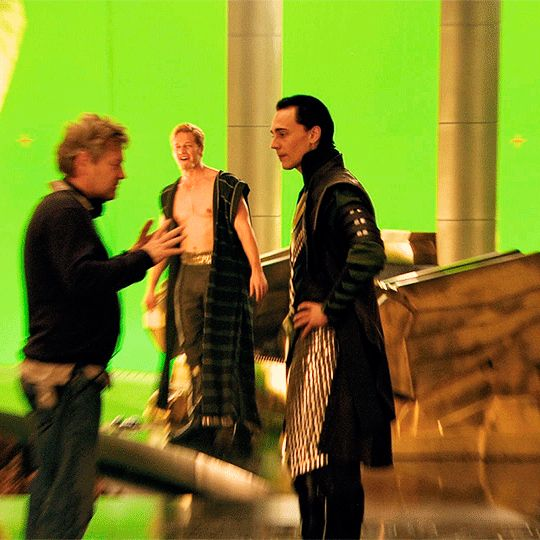 Tom Hiddleston and Kenneth Branagh on the set of Thor (2011)