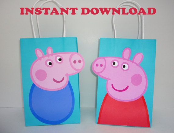 DIY Peppa Pig Party Favor Bags. Just Download, Print, Cut & Paste. Unlimited Printing! Peppa/ George birthday party decorations/ ideas/ printable peppa pig/ peppa pig favors/ goody/ goodie/ treat/ candy/ loot bags/ fiesta peppa pig/ la cerdita peppa pig/ peppa pig party/ peppa pig invite/ invitations/ peppa pig cake decoration/ bolo/ torta/ pastel/ piñata/ canastas/ dress/ tutu/ cupcake toppers/ labels/ tags/ wrappers/ photo props.