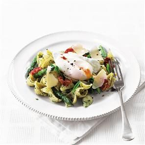 Pasta with asparagus, mint pesto and poached egg recipe  A simple Italian dish that you will and your friends will adore.