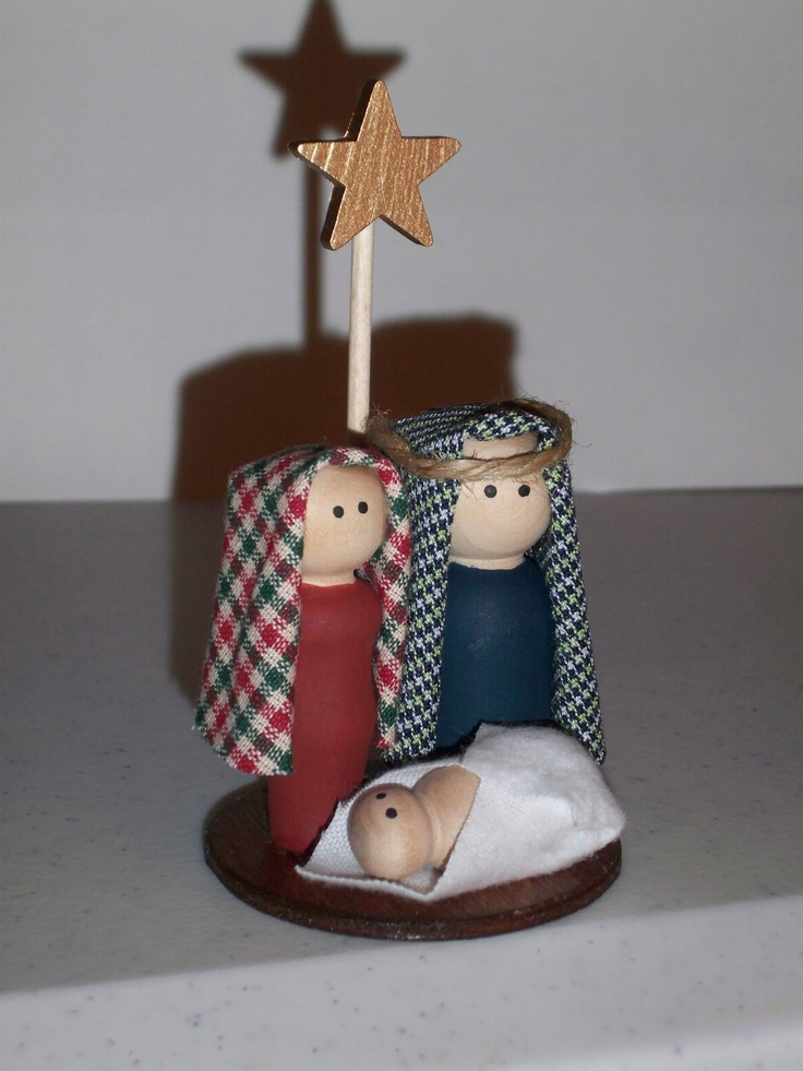 Nativity Mini - this is from Etsy (inspiration only) and I believe made of wood? I'd like to do something similar in Polymer clay - #Christmas #nativity #polymer #clay #crafts tå√