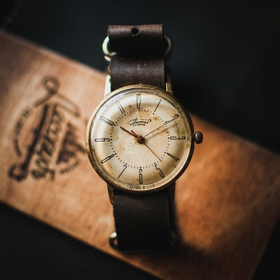 Nice white vintage Vimpel watch, mens watch, watches for men, montre homme, montre femme, mechanical watch, leather strap nato