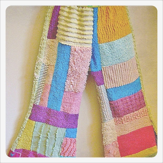 FUNKIEST child's chenille patchwork flares
