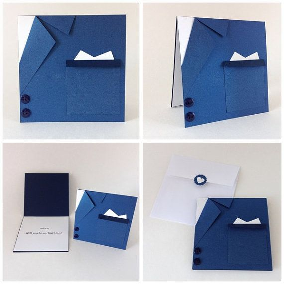 Navy Blue Suit and Tie Wedding Card Will you be par CallMeCraftie