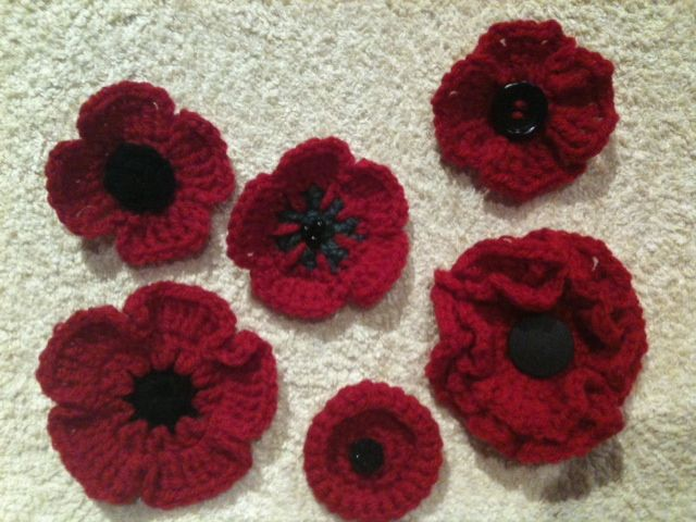 Various poppies made to sell for Remembrance Day.  Thanks to all who supplied free patterns on Pinterest.