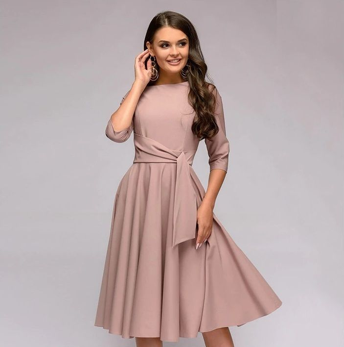 Click On The Photo To Shop This Beautiful Pink Spring Dress New Blush Pink A Line Women Skater Dress Mid Casual Dresses Dresses For Work Womens Skater Dress