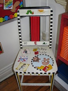 """""""Share Chair"""" it is simply a special chair that students sit in when reading their writing pieces aloud or sharing their thinking about how they reasoning when they solved a math problem to the class.  Here is an example of a """"Share Chair"""""""