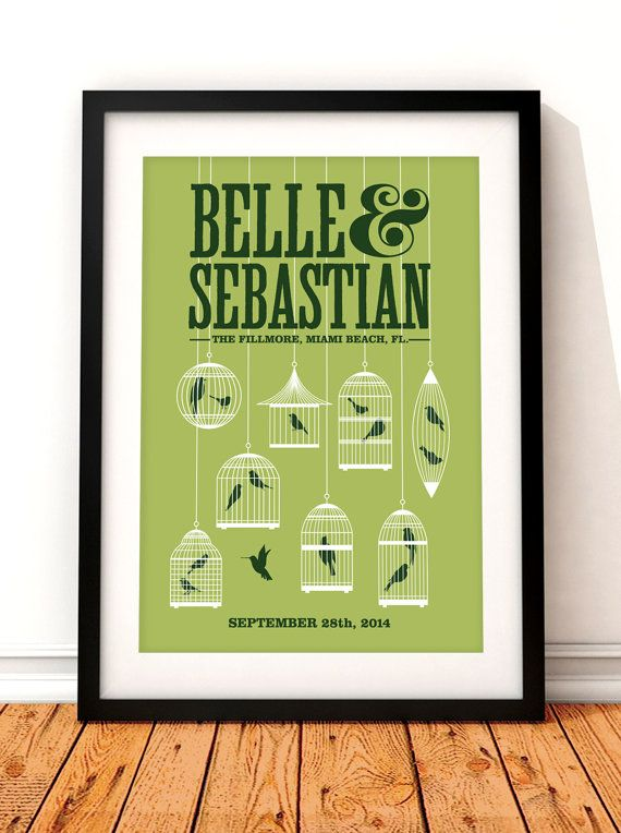 Belle and Sebastian concert poster print.  This beautiful concert poster print would make a great addition to any music lovers home. The print features a delicate collection of birdcages and celebrates Scottish band Belle & Sebastians concert at The Fillmore, Miami Beach in 2014.  All of our prints are produced to the highest standards using the finest 235gsm cotton rag fine art paper. The natural white paper we use works beautifully with our long lasting vibrant inks and gives our prints...