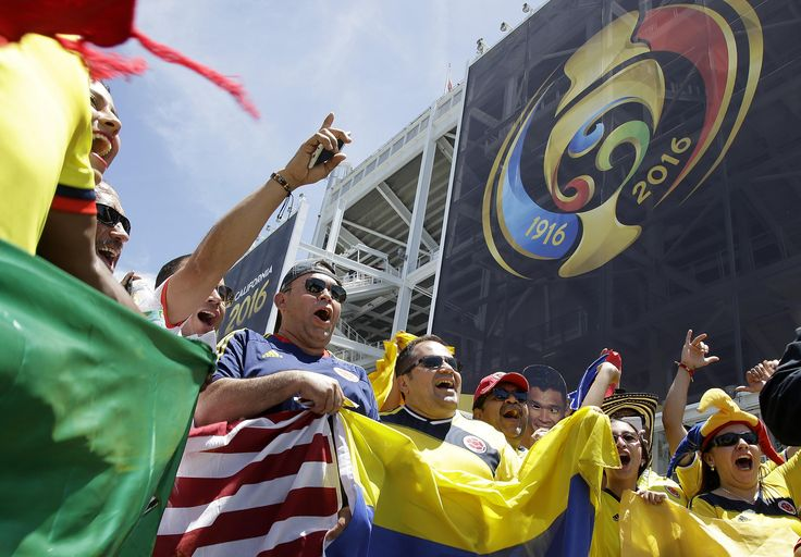 Fans yell before a Copa America Centenario Group A soccer match between the United States and Colombia at Levi's Stadium in Santa Clara, Calif., Friday, June 3, 2016. (AP Photo/Marcio Jose Sanchez)
