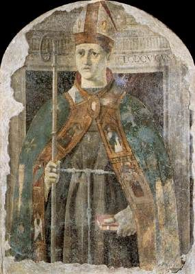 St. Ludovico - Piero della Francesca. c.1460. Fresco. 123 x 90 cm. Pinacoteca Communale, Sansepolcro, Italy.