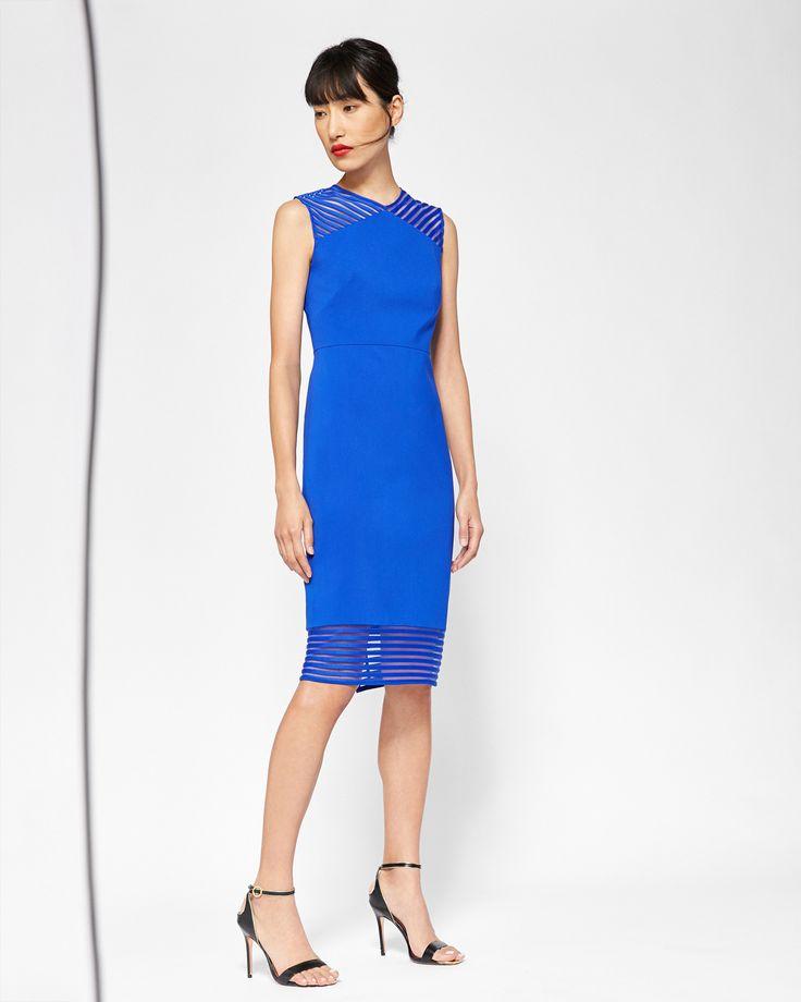 Mesh detail bodycon dress - Bright Blue | Dresses | Ted Baker UK