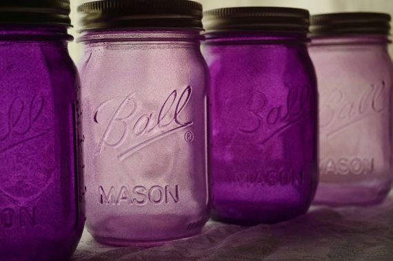 Stained Glass Mason Jars Set of 4 by willowfairedecor on Etsy
