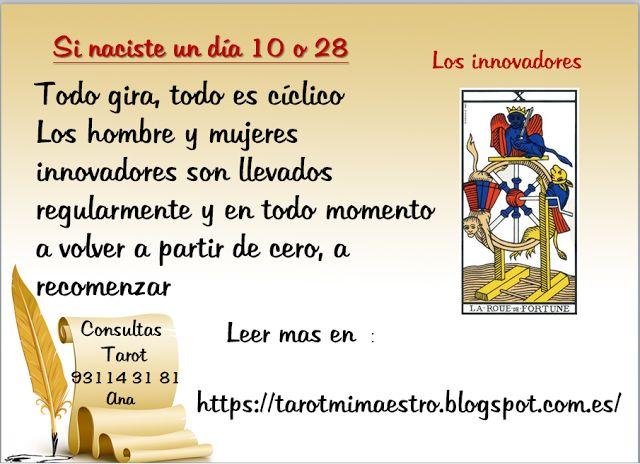 Ana Tarot: SI NACISTE UN DIA 10 O 28# aprender tarot gratis, # consultas de tarot, # tarotista particular, #aprende tarot, #combinaciones con el tarot, #predicciones con el tarot,
