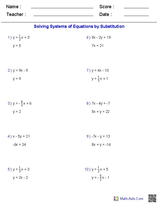 Solving Two Variable Systems of Equations Worksheets  MathAids.Com  Pinterest  Variables