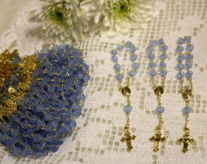 Mini rosarios azul, Mini rosarios para Bautizo, Mini rosarios recuerditos, Primera Comunion mini rosarios,